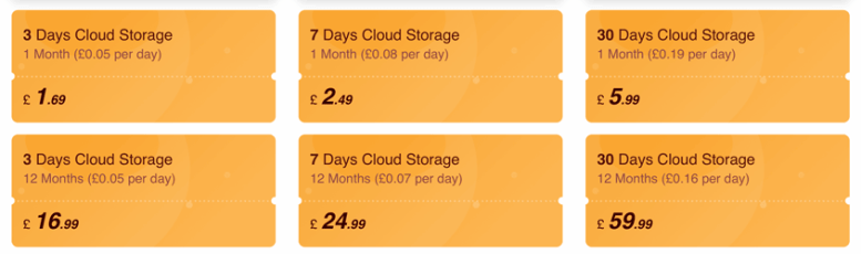 IMou cloud storage costs for 2020