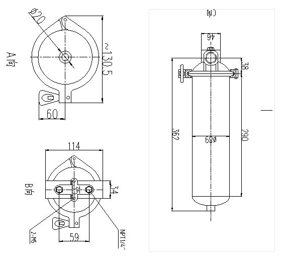 Small flow rate single Cartridge Filter Housing / 5 micron