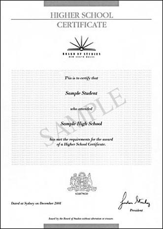 professional high school certificate