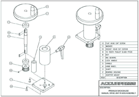 Premium Backgauge Manual Drive Unit R Axis Assembly