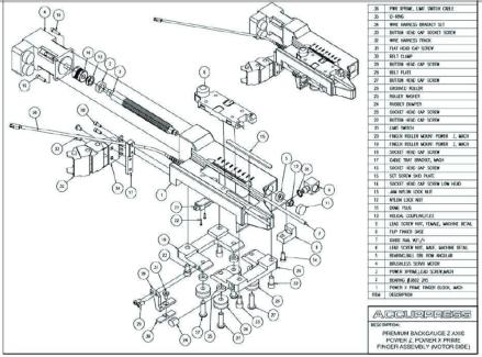 Premium Backgauge Z Axis, Power Z, Power X Prime Finger Assembly (Motor Side)