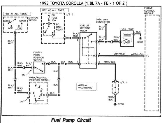 toyota tercel fuel pump control circuit