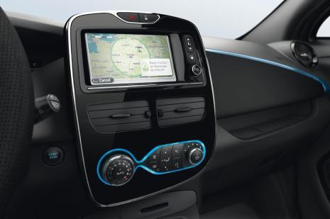 La console centrale de la Renault ZOE en noir