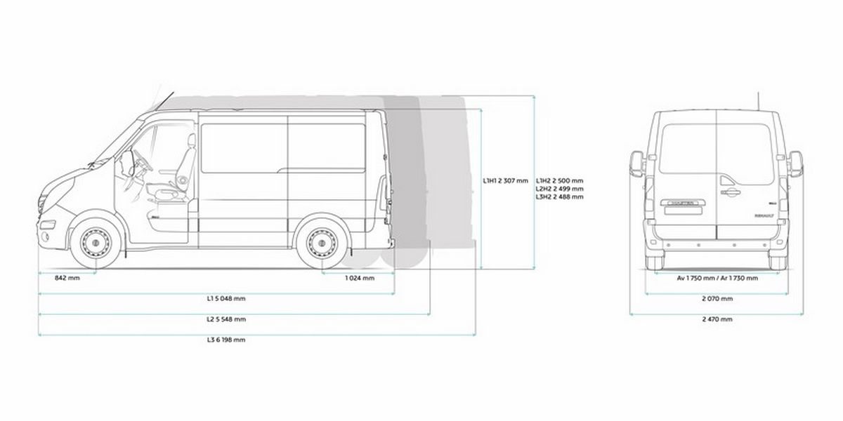 Renault Master Dimension. the vector drawing renault