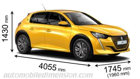 dimensions des voitures peugeot avec