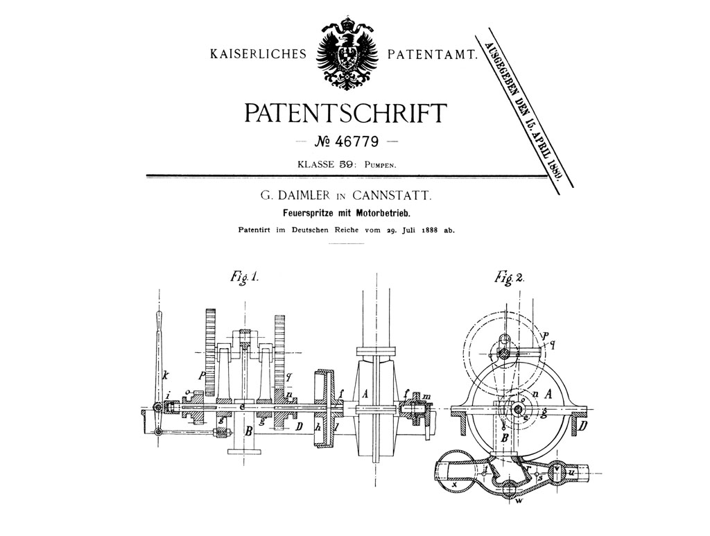 Gottlieb Daimler Files Patent Application For First