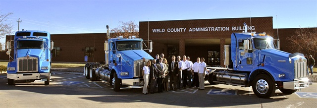 <p>Pictured are Weld County, Colo., employees with the County's natural gas vehicles. <em>Photo courtesy of Weld County.</em></p>