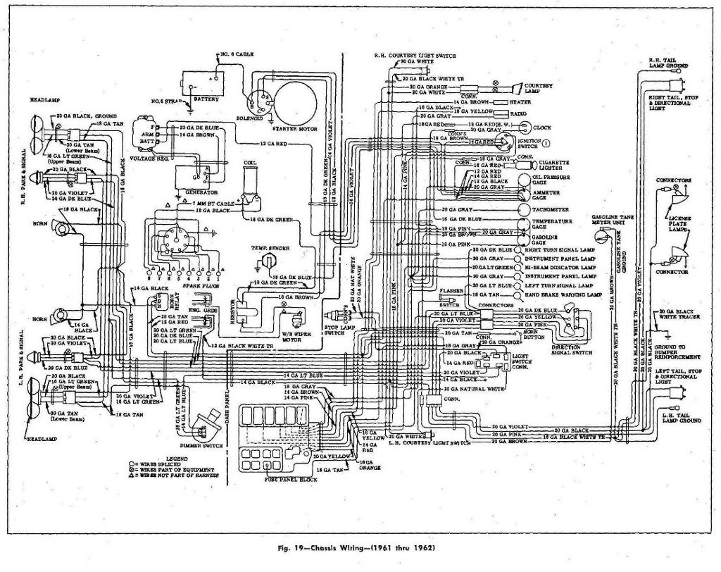 hight resolution of chassis wiring diagram for the 1961 1962 chevrolet corvette