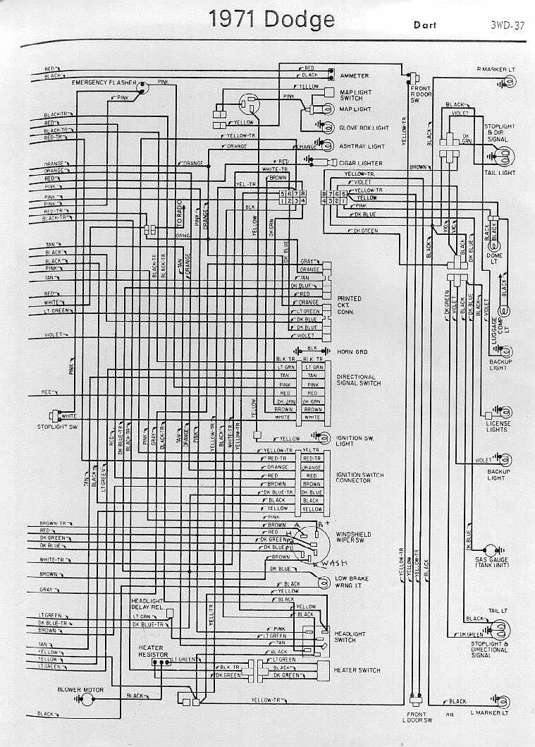 small resolution of interior electrical wiring diagram of 1971 dodge dart