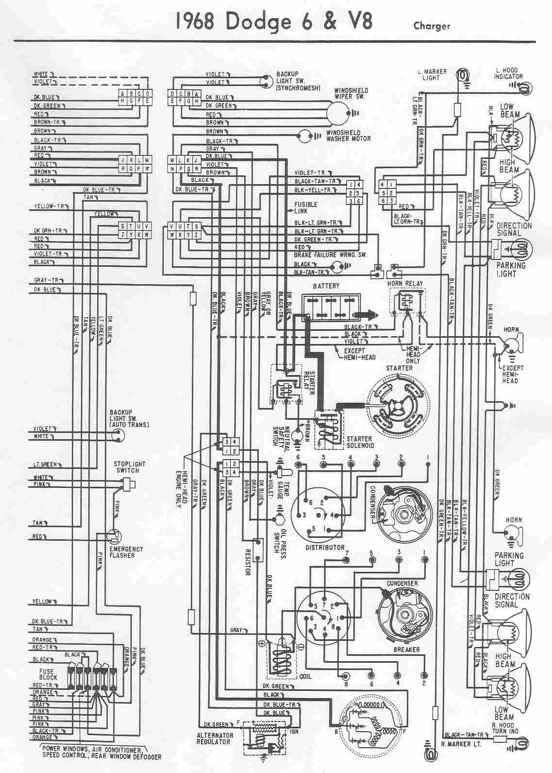 hight resolution of charger electrical wiring diagram of 1968 dodge 6 and v8 t