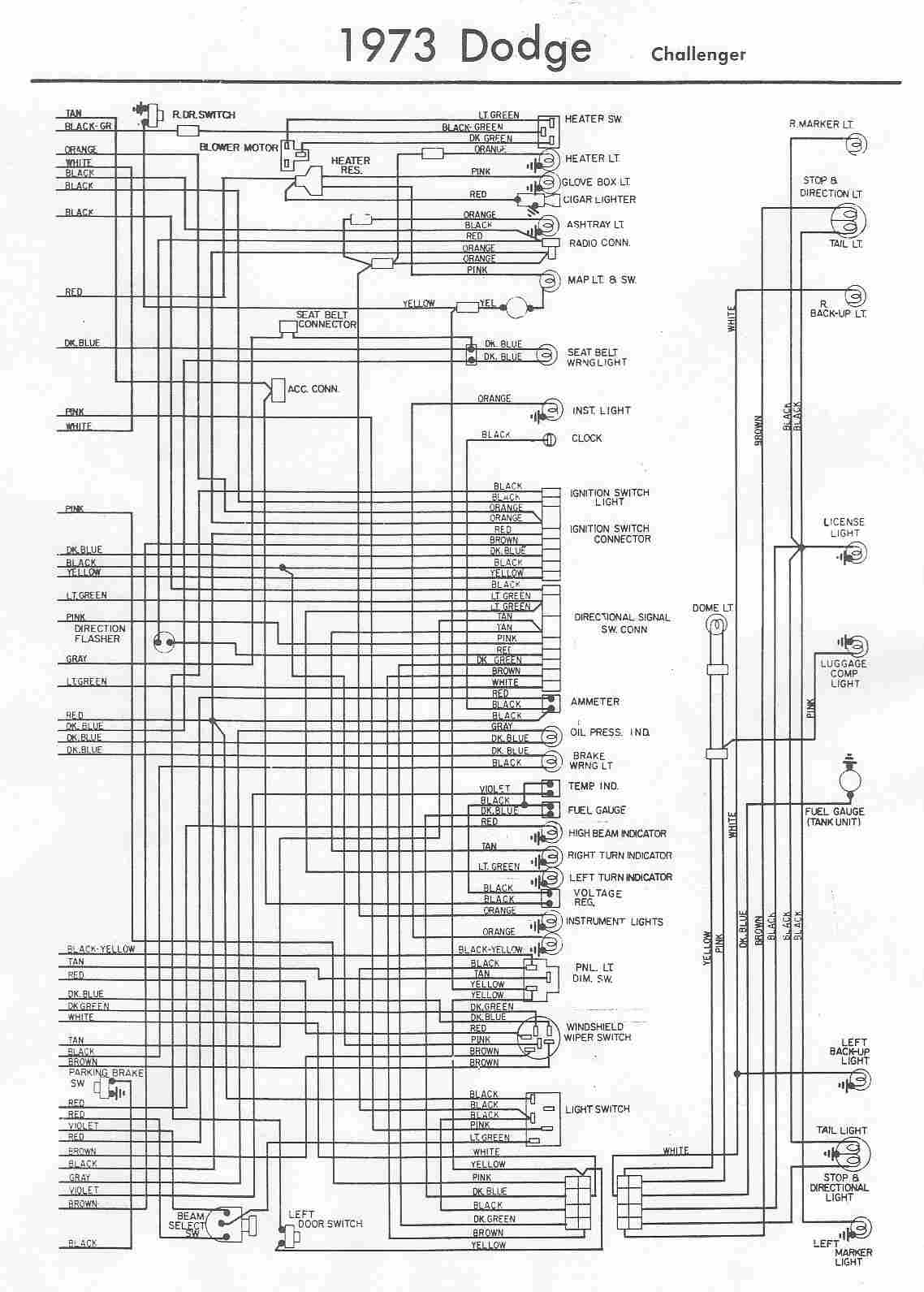 small resolution of electrical wiring diagram of 1973 dodge challenger
