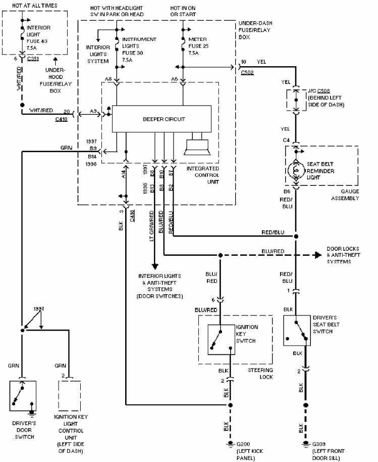 1997 honda accord electrical system wiring diagram