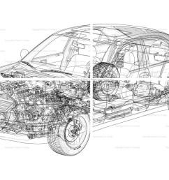 generic car cutaway line drawing [ 1777 x 1191 Pixel ]