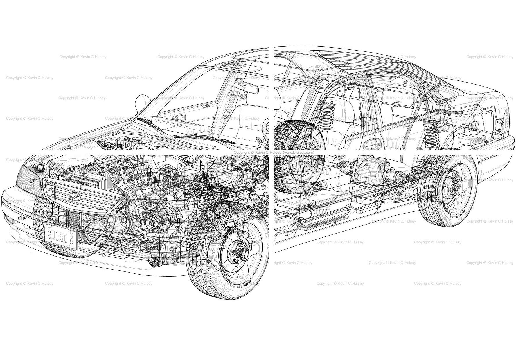 hight resolution of generic car cutaway line drawing