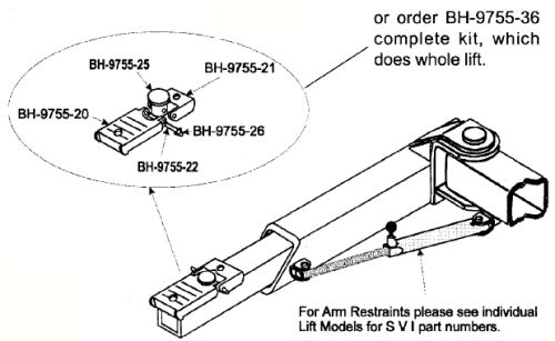 Parts Breakdown for Rotary Lift model SP55 Two Post Lift