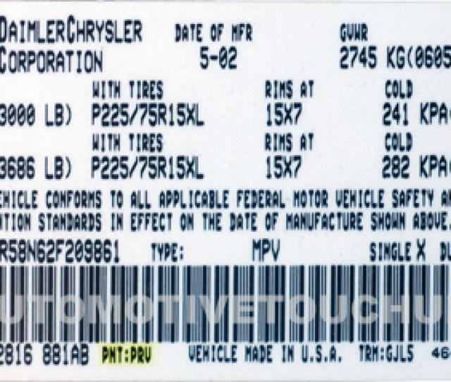 Dodge Paint Code Example Prv