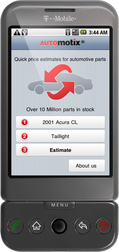 Automotix Mobile: Car Parts App on iPhone & Andorid phones