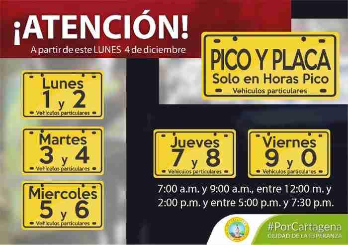Rotación Pico y Placa Cartagena Marzo a Junio 2018