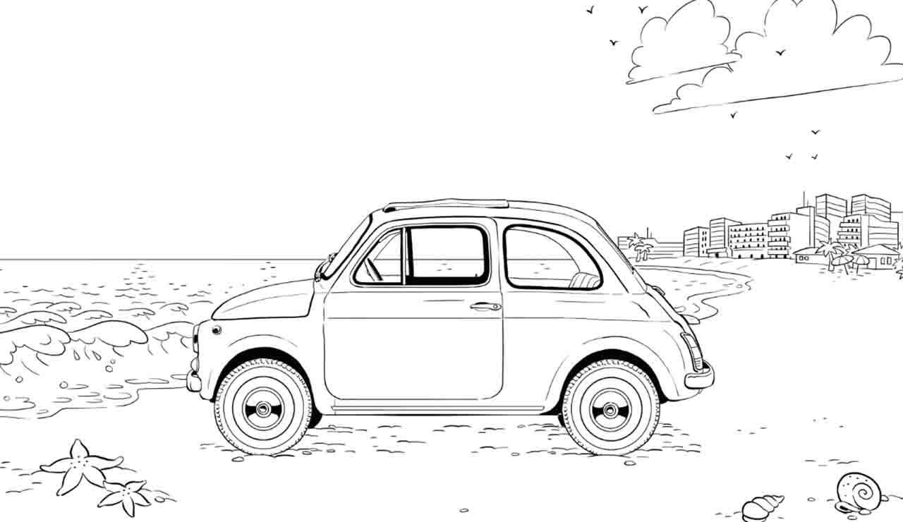 Contro la noia: una Fiat 500 tutta da colorare per i bambini