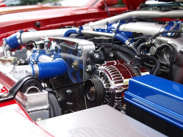 A car engine under the hood.