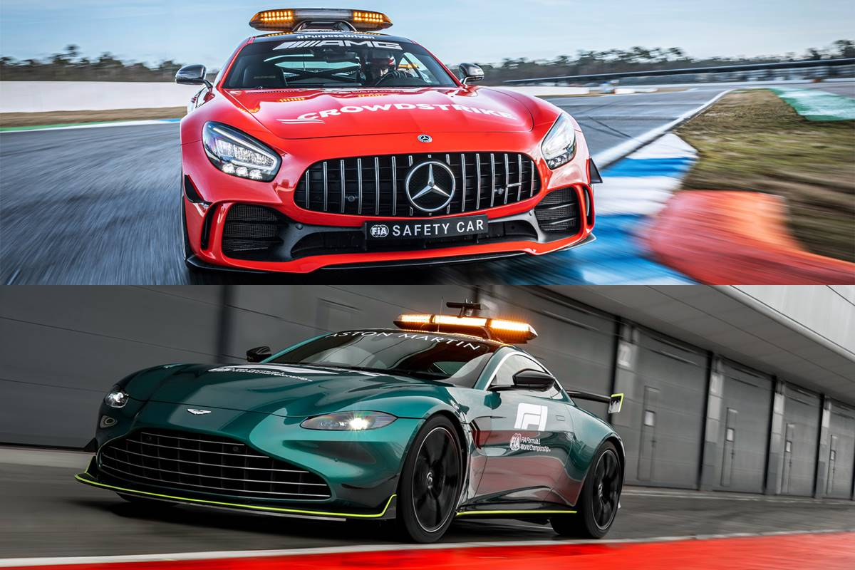 Mercedes and Aston Martin safety cars