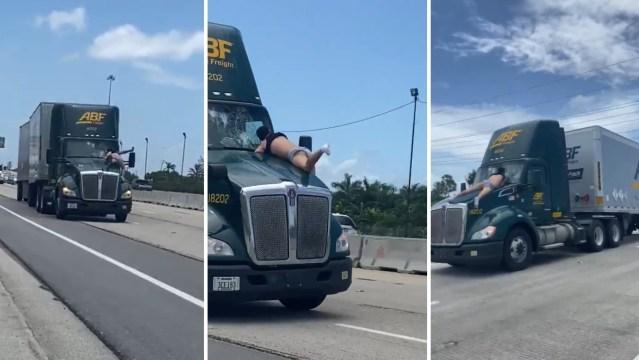 Filmski prizor na Floridi: okršaj na haubi kamiona u vožnji
