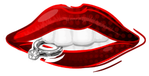 lips with red lipstick cartoon