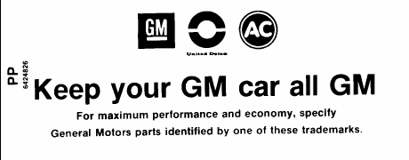 Air Cleaner Service Instruction Decal, 1968-72 Pontiac