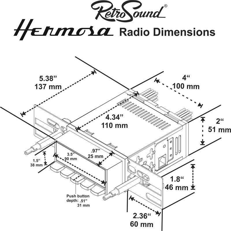 RetroSound AMC/ Jeep Hermosa In Dash Stereo, Gremlin