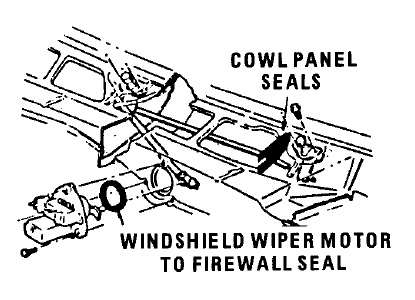 Non-Recess Park Wiper Motor/ Firewall Seal, 1968-77 Camaro