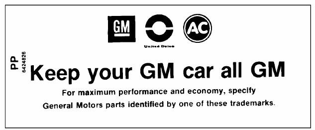 Air Cleaner Service Instructions Decal, 1968-72 GM All