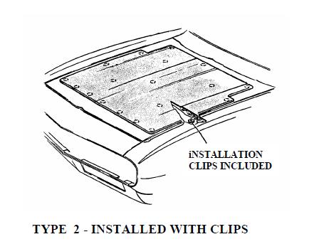 Hood Insulation Installed w/ Clips, 1966 Oldsmobile Cutlass