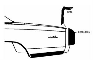 Quater Panel Extension Seals, 1970-72 Oldsmobile Cutlass