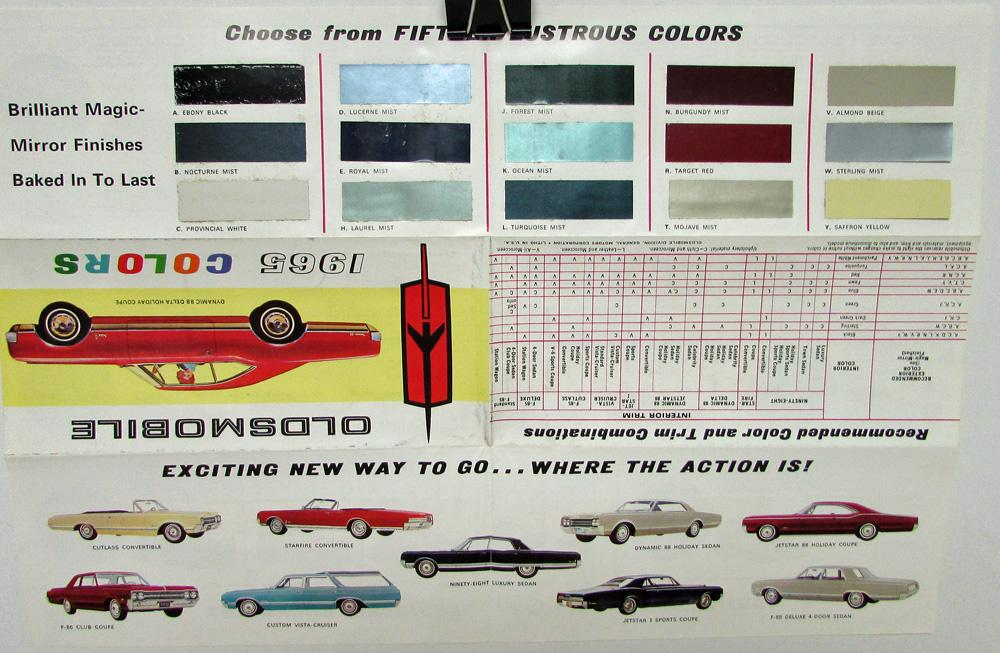 1965 Oldsmobile Color Selector Paint Chip Amp Interiors