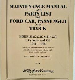 1941 1942 1946 1947 1948 ford car truck 6 cyl v8 flathead shop manual parts list [ 789 x 1000 Pixel ]