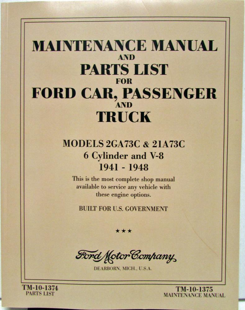 hight resolution of 1941 1942 1946 1947 1948 ford car truck 6 cyl v8 flathead shop manual parts list