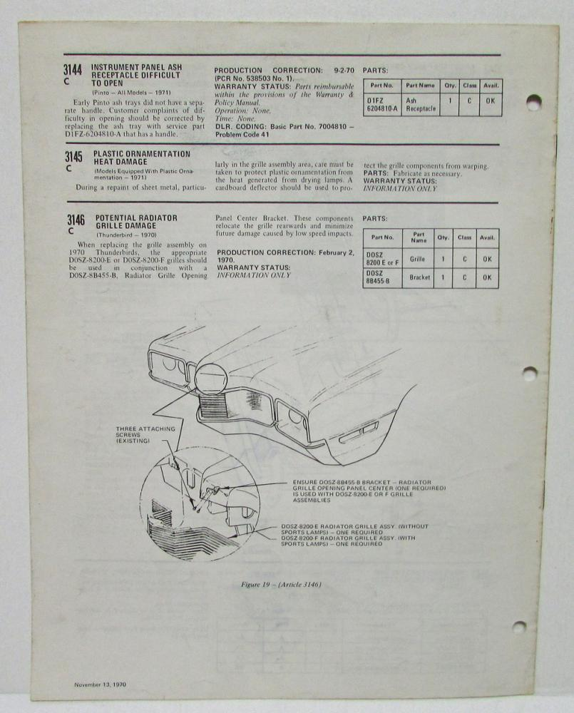 1970 October & November Ford Technical Service Bulletins