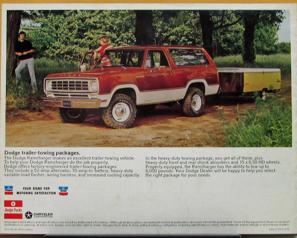 hight resolution of 1976 dodge ramcharger hardtop softtop 4wd color revised sales brochure original