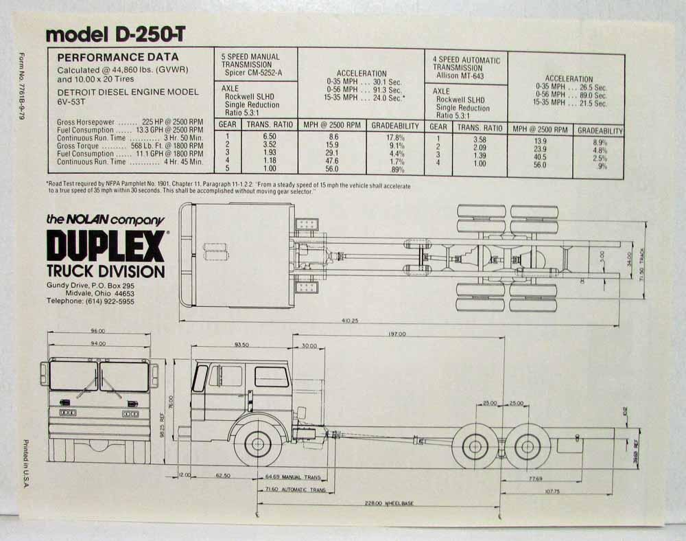 medium resolution of 1980 duplex fire truck chassis model d 250 d 250 t sales spec sheets extras