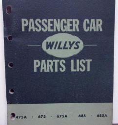 1952 53 willys dealer parts list book passenger car 475a 675 675a 685 685a [ 801 x 1000 Pixel ]