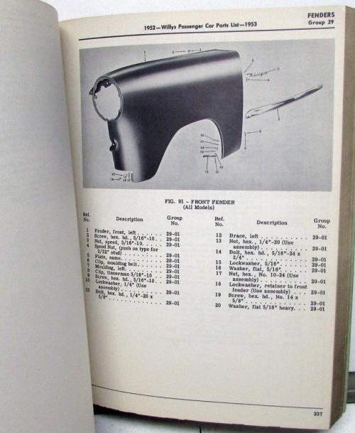 small resolution of 1952 53 willys dealer parts list book passenger car 475a 675 675a 685 685a