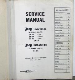 1946 65 jeep dealer service shop manual universal cj 2 3 5 6 dispatcher dj 3a [ 920 x 1000 Pixel ]
