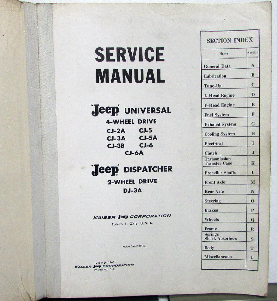 hight resolution of 1946 65 jeep dealer service shop manual universal cj 2 3 5 6 dispatcher dj 3a