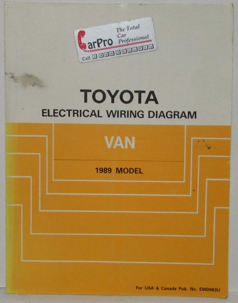 medium resolution of 1989 toyota van service shop repair manual plus electrical wiring diagram