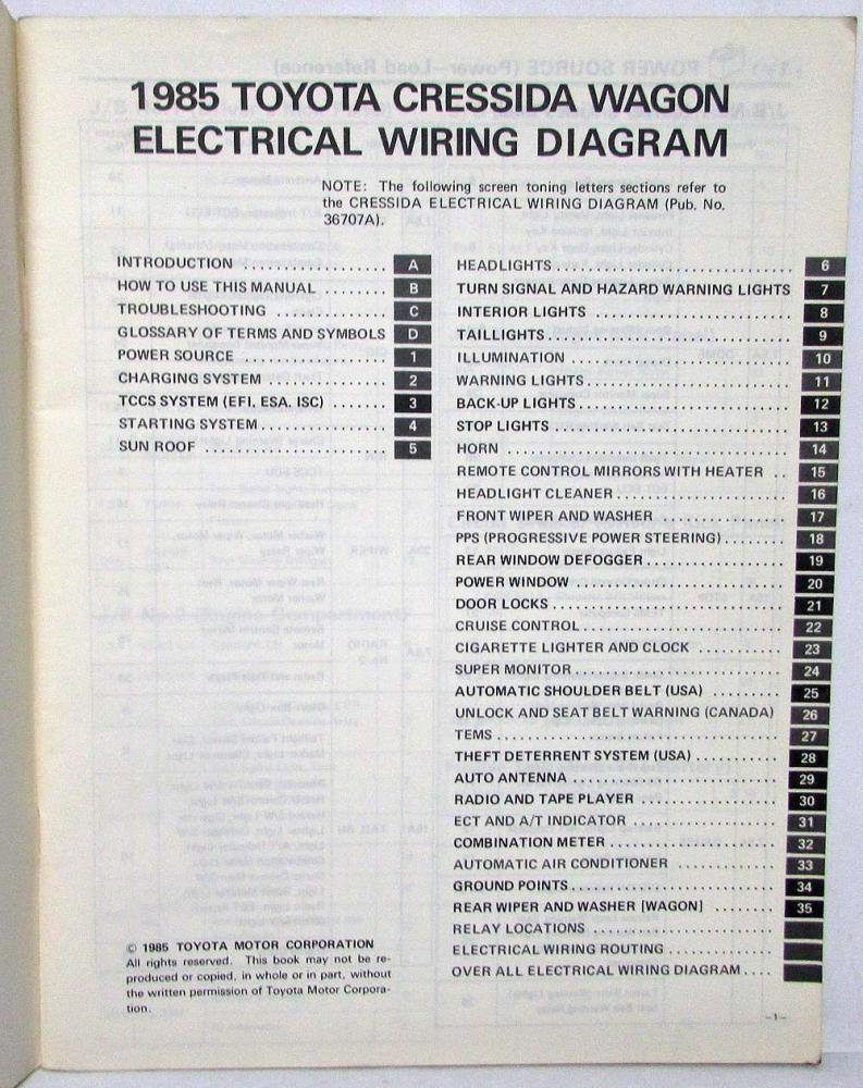 medium resolution of 1985 toyota cressida station wagon repair manual electrical wiring diagram