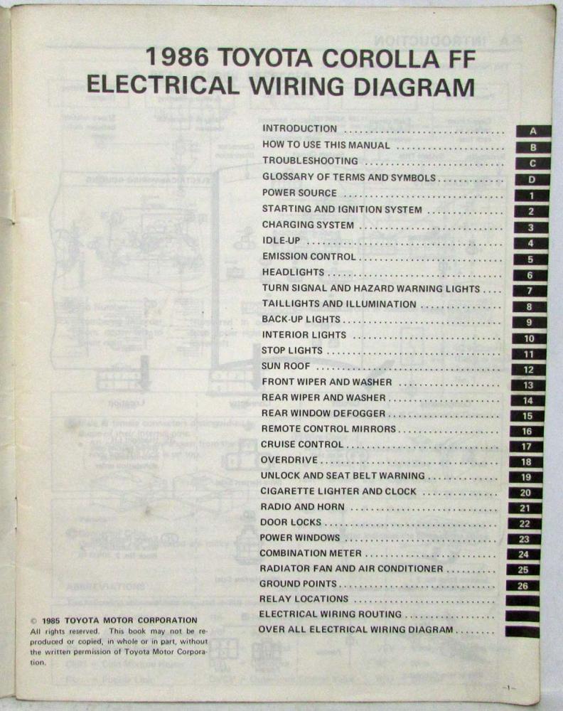 medium resolution of 1986 toyota corolla ff shop repair manual electrical wiring diagram manual