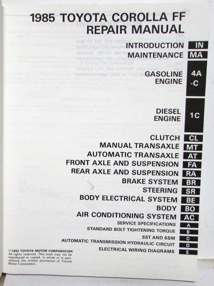 1992 toyota corolla wiring diagram 2002 f150 1985 ff shop repair manual electrical