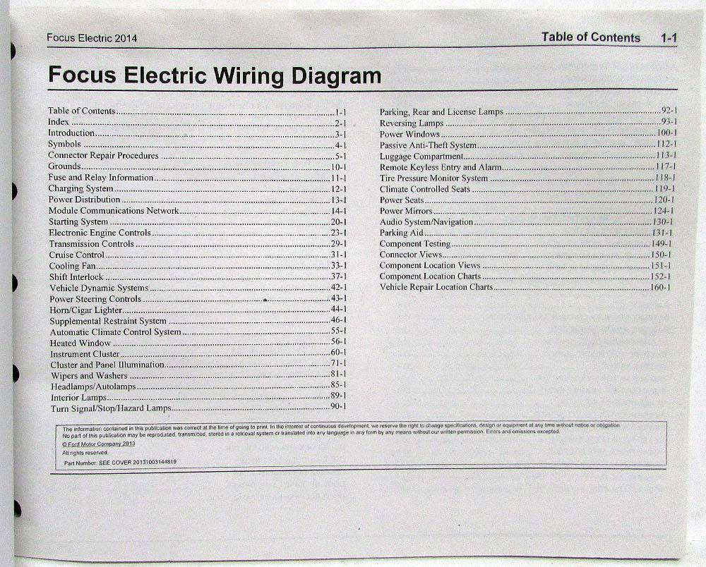 2014 Ford Focus Electric Electrical Wiring Diagrams Manual