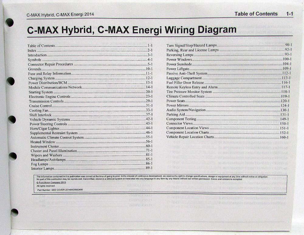 2014 Ford C-Max Hybrid Energi Electric Electrical Wiring