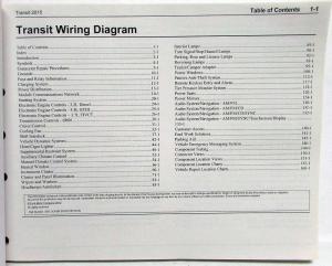 2015 Ford Transit Electrical Wiring Diagrams Manual